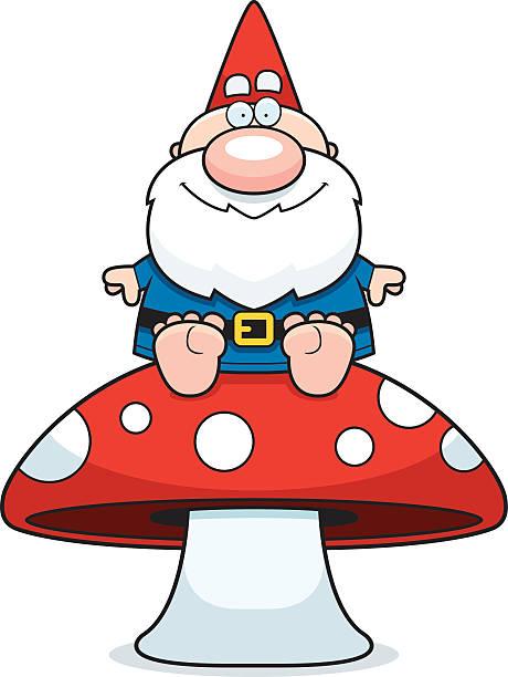 comic gnome mushroom - gartendekorationen stock-grafiken, -clipart, -cartoons und -symbole