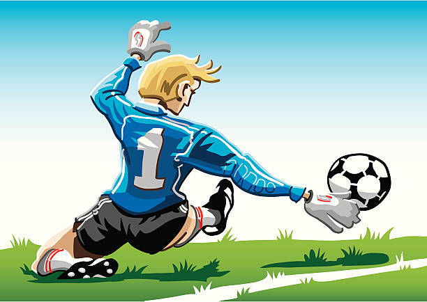 """Cartoon Goalkeeper Blue """"Vector Illustration of a soccer goalkeeper with a blue jersey. The background is on a separate layer, so you can use the illustration on your own background. The colors in the .eps and .ai-files are ready for print (CMYK). Included files: EPS (v8), AI (CS2) and Hi-Res JPG."""" soccer stock illustrations"""