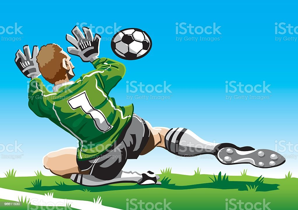 Cartoon Goalkeeper - Royalty-free Alleen volwassenen vectorkunst