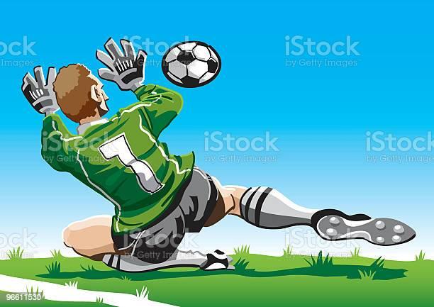 Мультяшный Goalkeeper — стоковая векторная графика и другие изображения на тему В полный рост