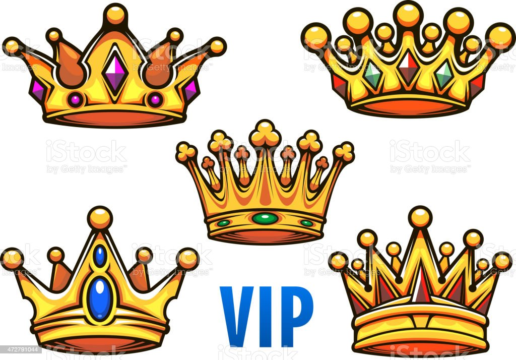 Cartoon Golden Crowns With Colorful Jewelry Stock Vector ...