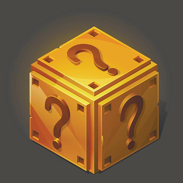 cartoon golden isometric question box. vector illustration. - entdeckungskiste stock-grafiken, -clipart, -cartoons und -symbole