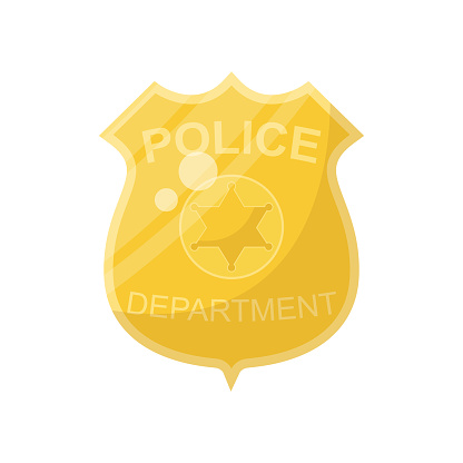 Cartoon golden police badge, vector illustration