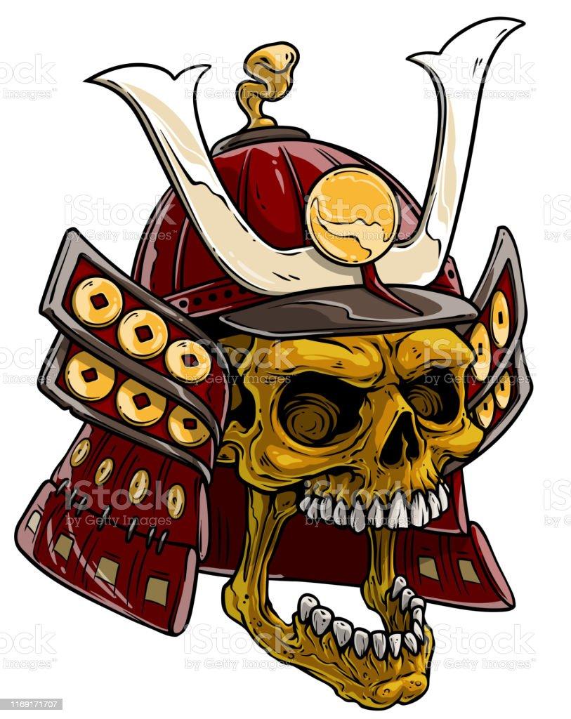 Cartoon Golden Skull In Japanese Samurai Helmet Stock Illustration Download Image Now Istock