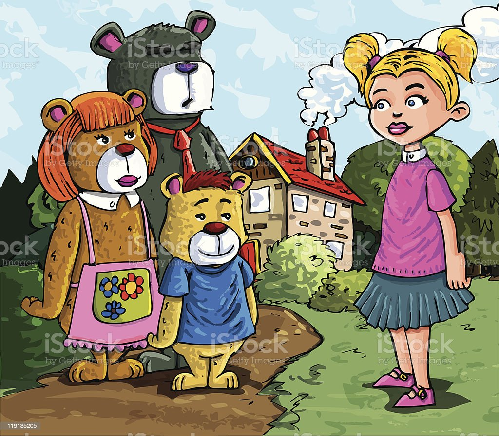 Cartoon Goldilocks and the three bears vector art illustration