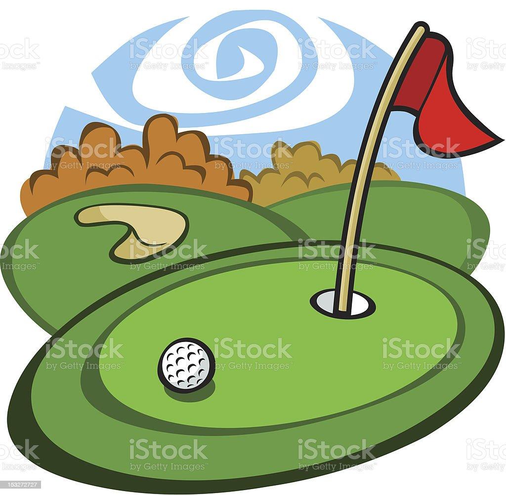 Cartoon Golf Course vector art illustration