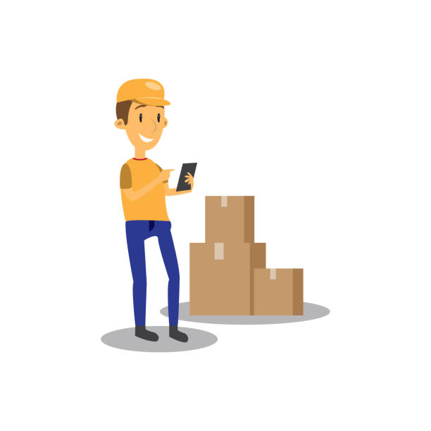 Cartoon good man worker in uniform. Cartoon good man worker in uniform. Relocation move. Transport company. Character design. Can be used business shipping service. Boxes with thing. front stoop stock illustrations