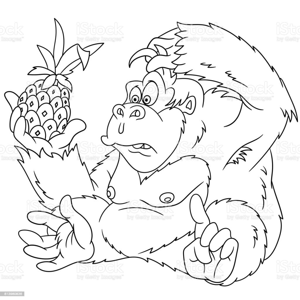 Cartoon Gorilla Coloring Page Stock Vector Art More Images Of