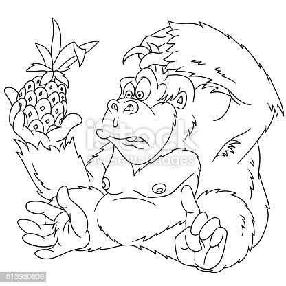 Ilustración de Página De Dibujos Animados Gorila Para Colorear y más ...