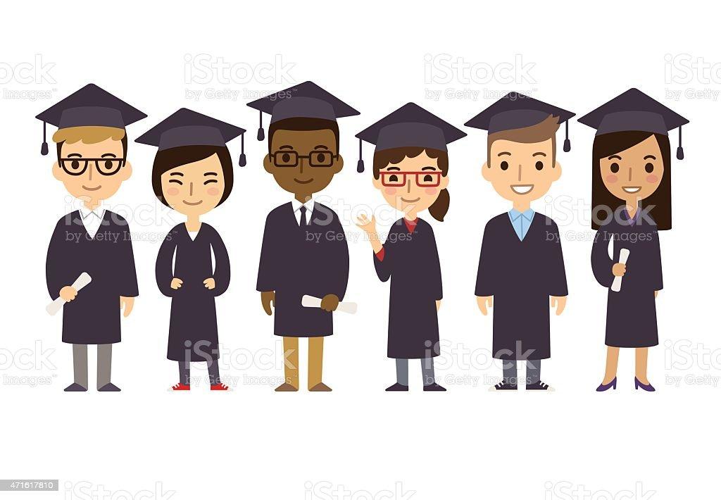 Estudantes de pós-graduação dos - ilustração de arte em vetor