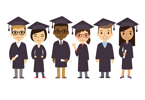 Cartoon Graduate Students vector art illustration