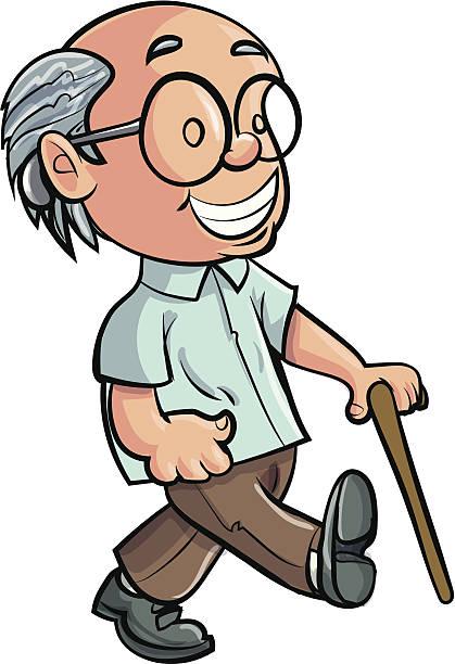 ilustraciones, imágenes clip art, dibujos animados e iconos de stock de abuelo pasos de historieta con un dispositivo - geriatría