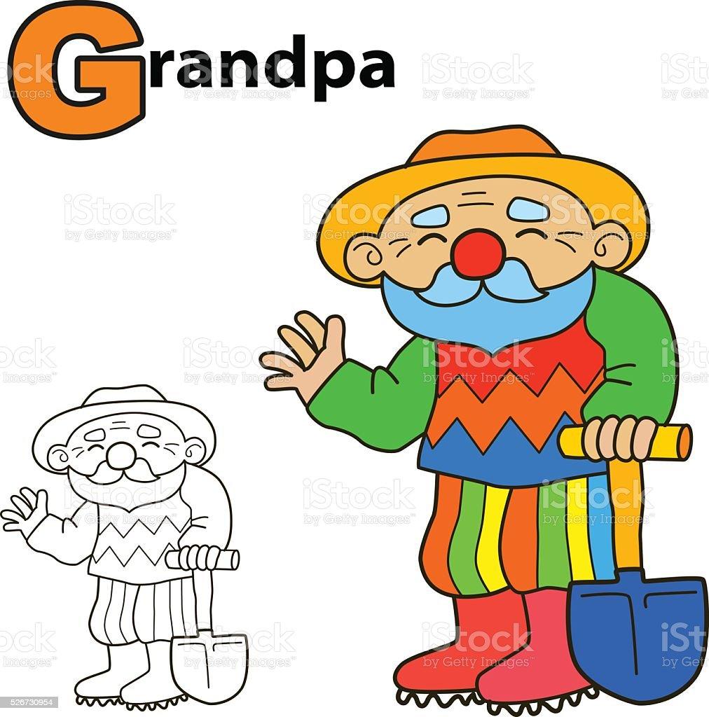 Historieta Abuelo Libro Para Colorear Página Juego De Ilustración De ...