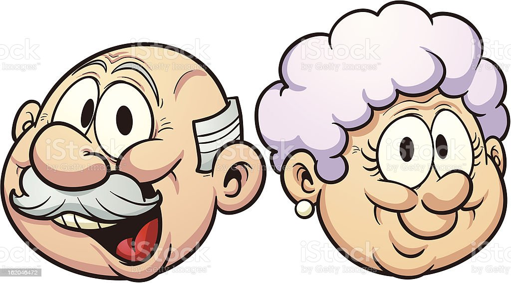 Cartoon grandparents vector art illustration