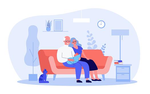 Cartoon grandparents with little grandchild