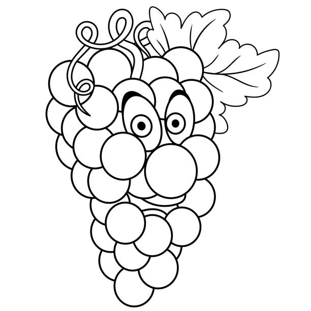 Royalty Free Black And White Outlines Branches Of Grape ...