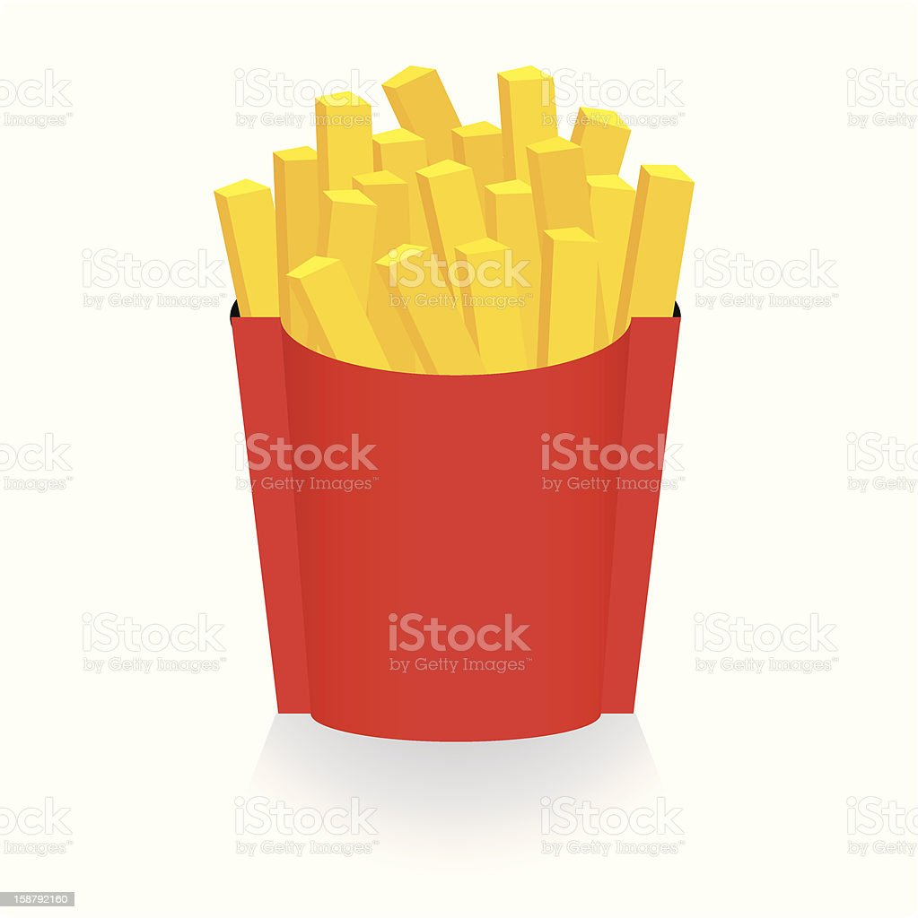 A cartoon graphic of a box of fries royalty-free stock vector art
