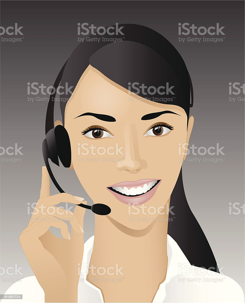 Cartoon graphic of a female customer support specialist royalty-free stock vector art