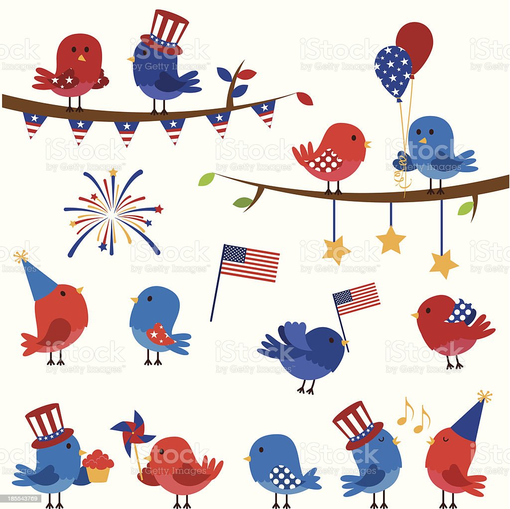 Cartoon graphic of birds in American colors with flags royalty-free stock vector art