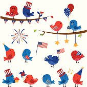 Cartoon graphic of birds in American colors with flags