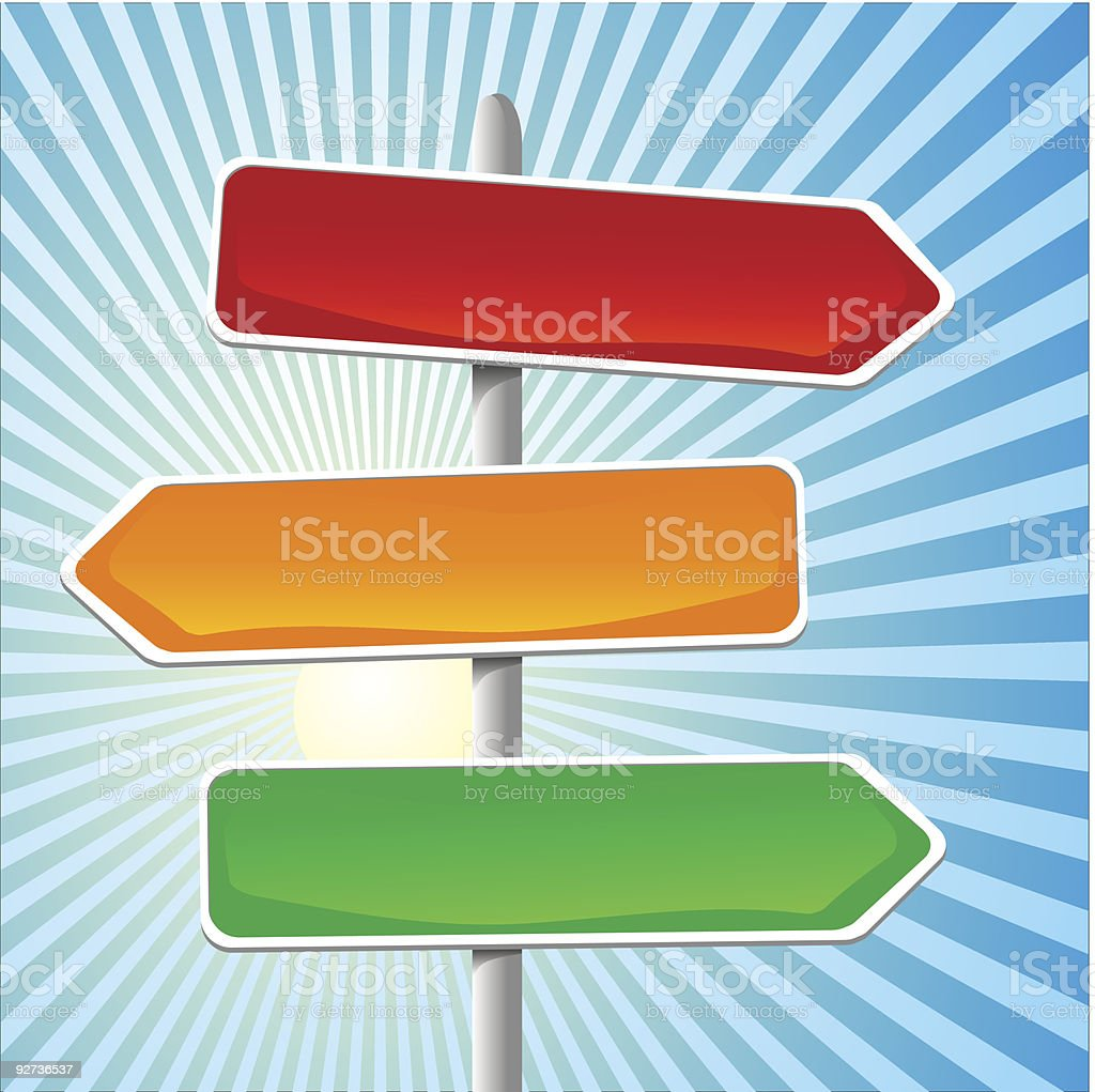 A cartoon graphic of colorful signs pointing left and right royalty-free stock vector art