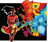 Cartoon graphic of flowers and a woman playing drum
