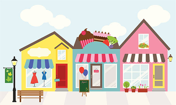 centrum handlowe - small business stock illustrations