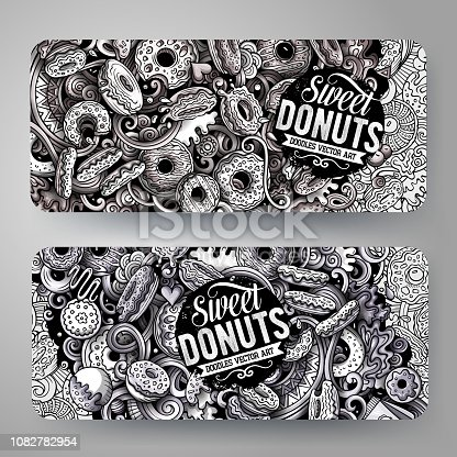 Cartoon graphics monochrome vector hand drawn doodles Donuts corporate identity. 2 id cards design. Templates set