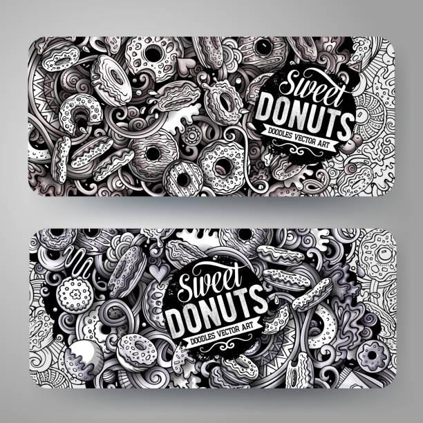 Cartoon-monochrome Vektor handgezeichnete Kritzeleien Donuts Ausweise Grafikdesign – Vektorgrafik