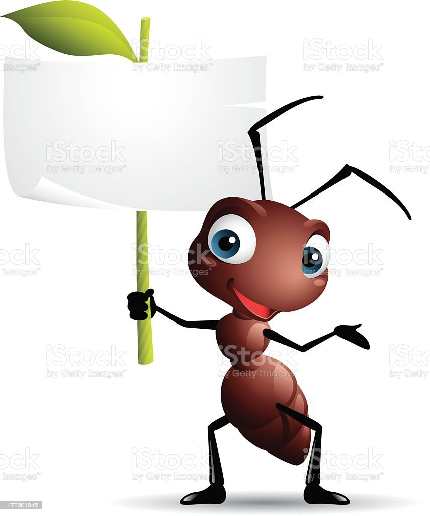 Cartoon graphics of ant holding sign vector art illustration