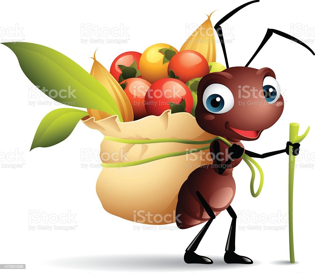 Cartoon Graphics Of Ant With Sack Full Of Berries Stock