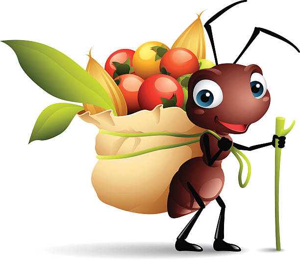 Cartoon graphics of ant with sack full of berries vector art illustration