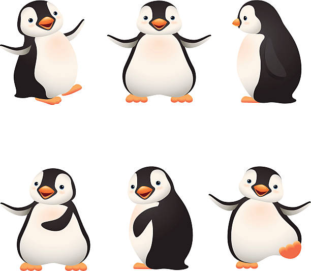 cartoon graphics of baby penguins - penguin stock illustrations