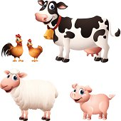 - cartoon illustration of farm animals