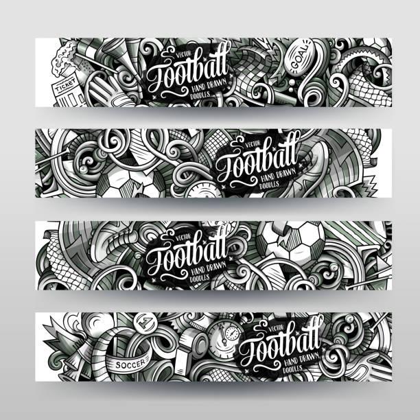 cartoon grafik vektor handgezeichnete doodles fußball banner design. - fußballkunst stock-grafiken, -clipart, -cartoons und -symbole