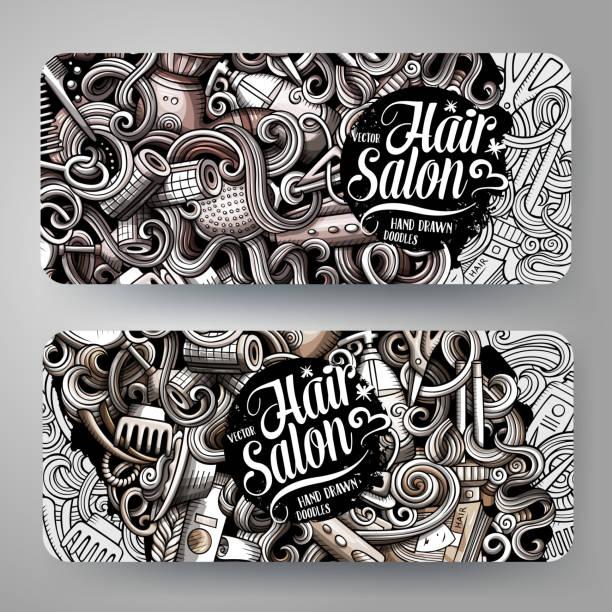 漫画のグラフィックベクトル手描き落書きヘアスタイル水平バナー - 美容室 3d点のイラスト素材/クリップアート素材/マンガ素材/アイコン素材