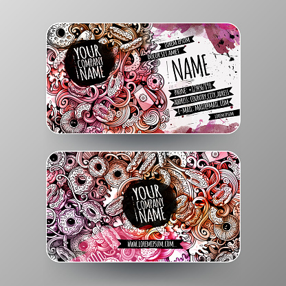 Cartoon graphics watercolor vector hand drawn doodles Donuts id cards