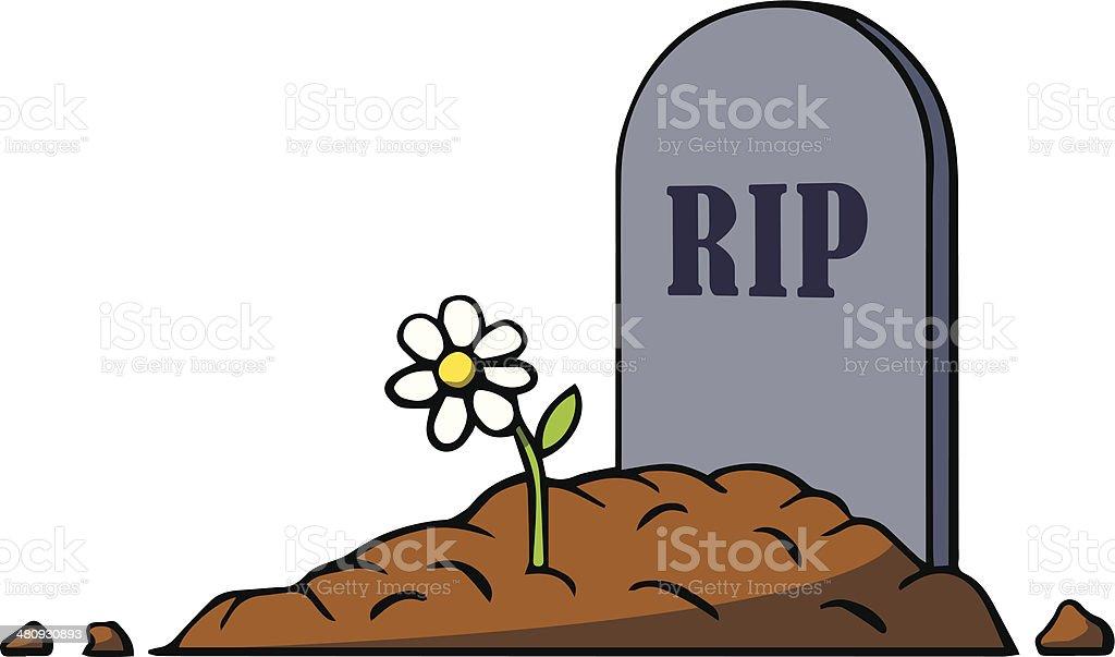 Tombe en dessin anim avec pierre tombale et de fleurs illustration vectorielle vecteurs - Pierre tombale dessin ...