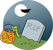 Cartoon gravestone in the moonlight.