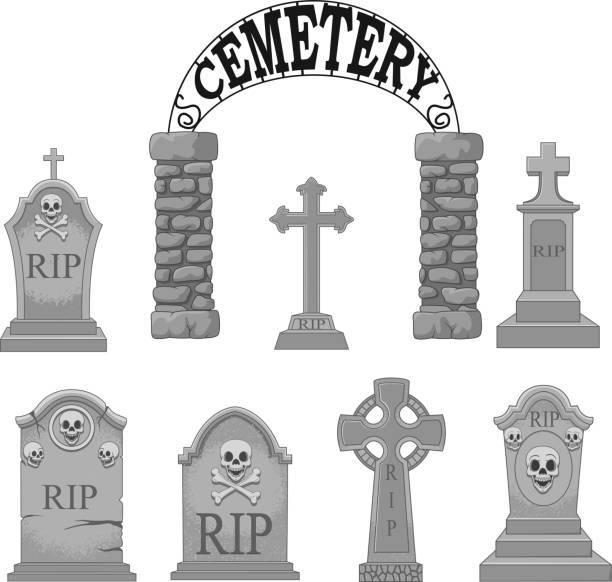 bildbanksillustrationer, clip art samt tecknat material och ikoner med cartoon gravstenar samling set - grav