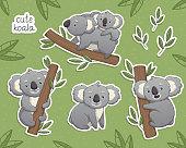 Cartoon gray koala in differet poses