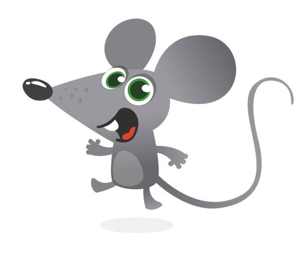 Cartoon graue Maus sprechen. Vektor-Illustration isoliert – Vektorgrafik
