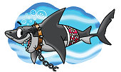 Cartoon great white shark brakes free from his chains vector illustration