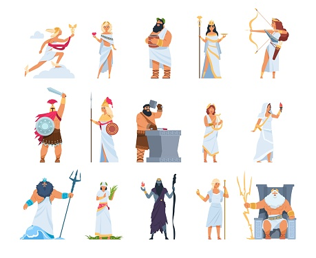 Cartoon Greek gods. Members of divine pantheon of Greece. Mythology persons in toga and golden helmet or wreath. Collection of Olympian deities, vector gorgeous legends character set
