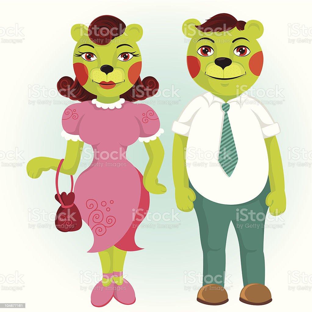 カットイラストグリーンベアのカップル のイラスト素材 104877161   istock