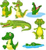 Vector illustration of Cartoon green crocodile collection set