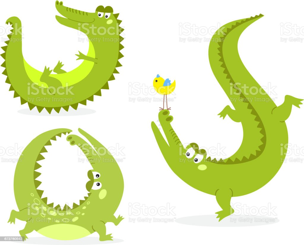 Cartoon Green Crocodile Funny Predator Australian Wildlife River Reptile Alligator Flat Vector Illustration Stock Illustration Download Image Now Istock