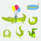 Cartoon green crocodile funny predator australian wildlife river reptile alligator flat vector illustration