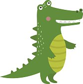 Cartoon green crocodile reptile flat vector illustration.