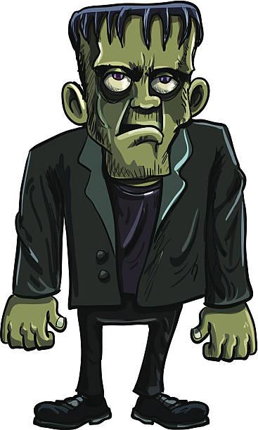 cartoon grünen frankenstein-monster mit großen augen - frankenstein stock-grafiken, -clipart, -cartoons und -symbole